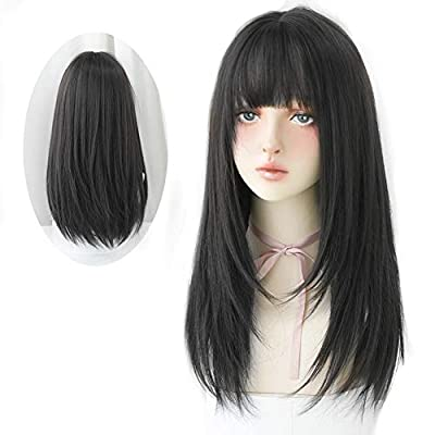 HUAISU Long Black Straight Hair Wig with Bangs Synthetic High Density Long Hair Wig for Women