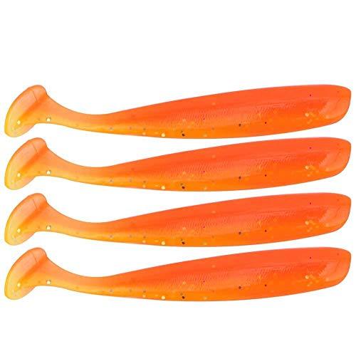 Zer one 20 UNIDS Pesca Suave Señuelo 7.5 cm / 2g De Plástico T Cola Cebo Artificial Gusano Swimbait para Bajo Trucha Leucomas Accesorio de Pesca(Naranja)