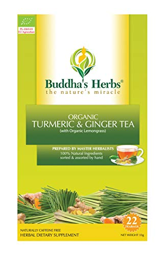 Buddha's Herbs Organic Turmeric, Ginger and Lemongrass Tea - Natural Immunity and Inflammation Support -22 Tea Bags (Pack of 2)