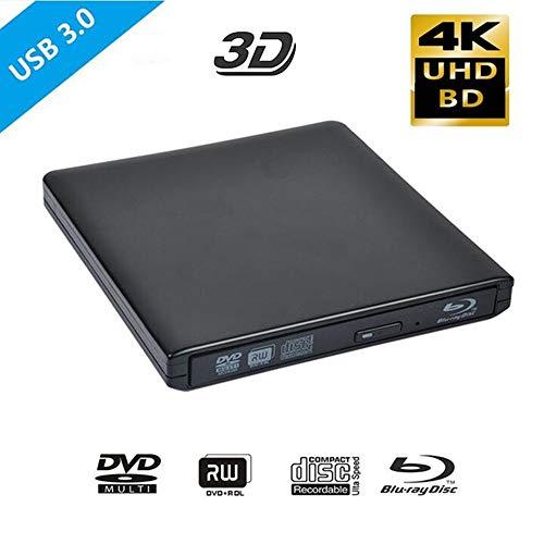 Externe 4K Blu-ray optische drive, USB 3.0 Blu-ray 3D-speler BD-RE-branderrecorder DVD +/- RW/RAM-stations voor computer Windows 7/8/10