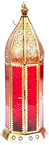 Insideretail Moroccan Style Lantern with a Brass Antique Finish and Red Glass, 12 by 12 by 38cm, Set of 2