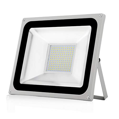 100W Faretto LED da Esterno Impermeabile IP65 Faro LED da Esterno 10000LM 6500K Bianco freddo Luce di sicurezza per Giardino Cortile Garage Terrazza [Classe di efficienza energetica A+]