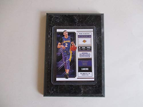 LONZO BALL LOS ANGELES LAKERS PANINI CONTENDERS NBA 2018 (PURPLE JERSEY) PLAYER CARD MOUNTED ON A 4' X 6' BLACK MARBLE PLAQUE