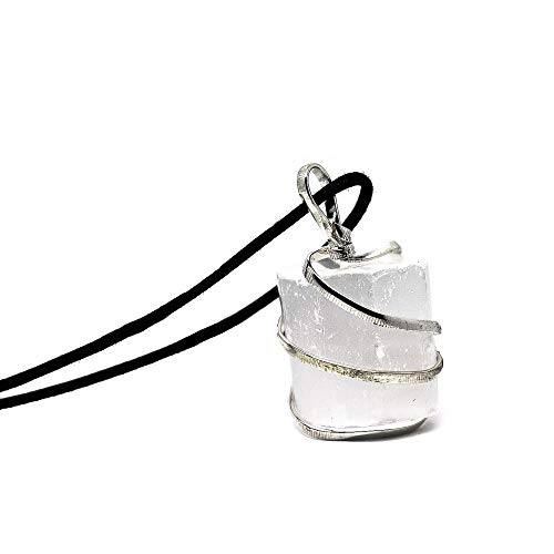 Raw Selenite Crystal Pendant Necklace -For Personal Transformation, Clarity Of Mind, Cleanse The Aura From Negativity, Releive Stress And Anxiety - Authentic Stone On Adjustable Length Necklace