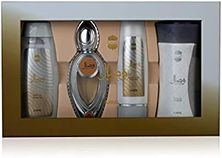 Ajmal Wisal Gift Set for Unisex, 50ml PERFUME,200ml SHOWER GEL,100ml BODY LOTION & 80 GRAMS POWDER