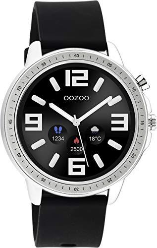 Oozoo Unisex Smartwatch mit schwarzem Silikonband Silberfarben/Schwarz 45 MM Q00300