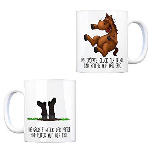 trendaffe - Kaffeebecher mit Pferd und Reiter Motiv und Spruch: Das größte Glück der Pferde sind Reiter auf der Erde.