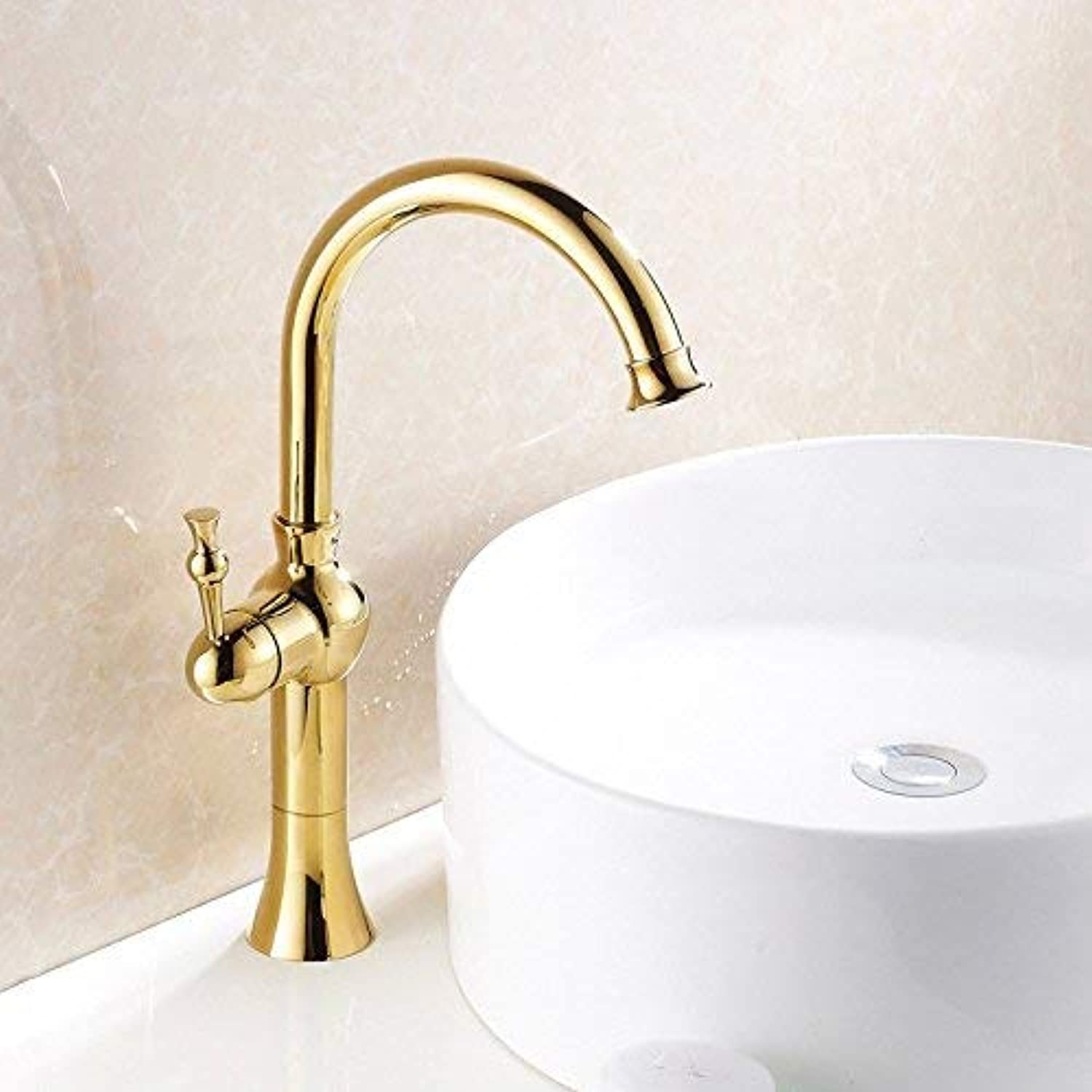 Oudan Basin hot and cold platform on the basin of European style golden faucet