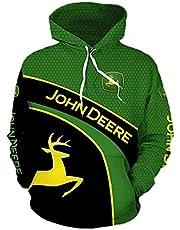 Unisex 3D Print Hoodie, Heren Hoodies Jas Voor John Deere, Hoodie Sweater Met Lange Mouwen Pullover, Sweatshirts Met Zakken,Green3,M/Medium