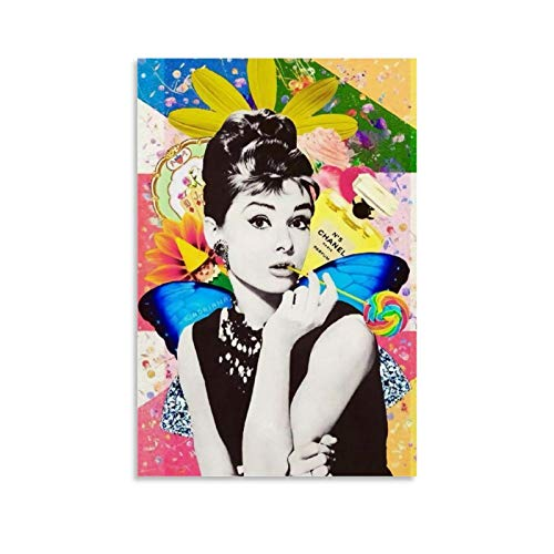 Movie Star Audrey Hepburn Color Painting Poster Canvas Art Poster and Wall Art Picture Print Modern Family Bedroom Decor Posters 24x36inch(60x90cm)