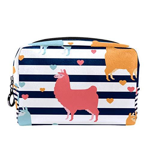 Make-up Taschen Tragbare Reise Kosmetiktasche Organizer Multifunktionskoffer Buntes Kamel mit Linien und Herzen mit Reißverschluss-Kulturbeutel für Frauen