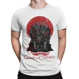 Camisetas La Colmena 035 - Game of Thrones - Game of Clones (L, Blanco)
