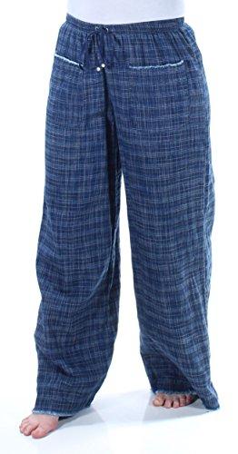 Max Studio Womens Cotton Frayed Hem Lounge Pants Blue M