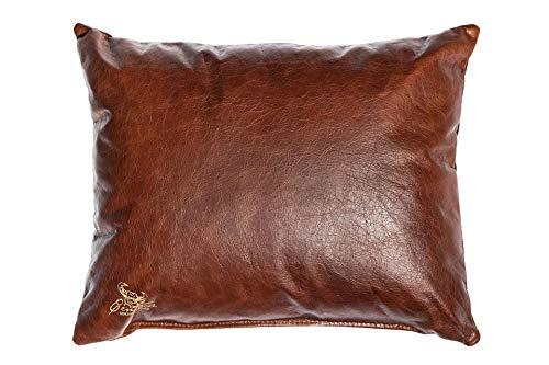 Centaur - Cuscino decorativo in pelle 50 x 40 cm per divano o camera da letto nocciola - Cuscino in vera pelle Cuscino look divano in pelle