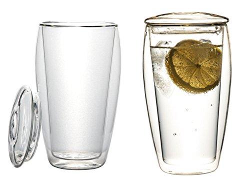 2x 400ml XL doppelwandige Thermogläser mit Glasdeckel (Thermo-Glas mit Schwebe-Effekt), ideal für Eistee, fürs Büro, unterwegs oder als Geschenk,
