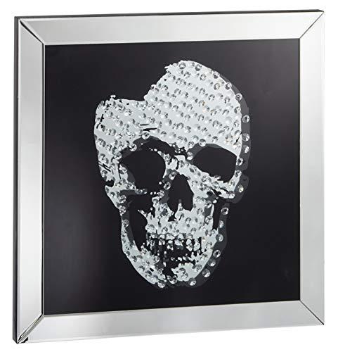Möbelbörse Wandbild Skull Bild Wandspiegel Totenkopfbild Spiegel Glasbild Spiegelglas Design Wohnzimmer Totenkopf 60x60cm