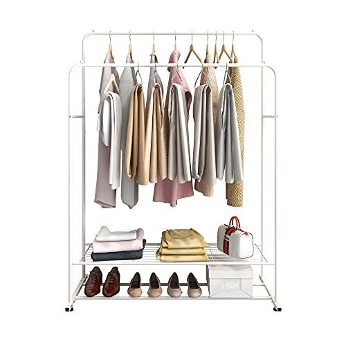 BOFENG Garment Rack Metal Heavy Duty Double Rail Clothes Rack Organizer 2-Tier Storage Shelf for Boxes Shoes Boots Commercial Grade Multi-Purpose Entryway Shelving Unit for Home Office Bedroom White