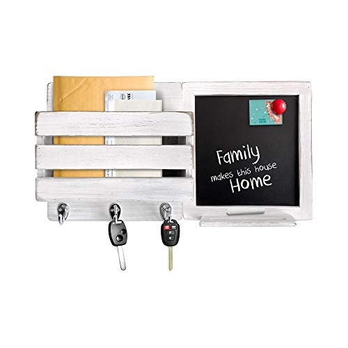 Mail Organizer for Wall with Chalkboard Frame & 3 Key Hooks - Wood Wall Mount Mail Holder Organizer – Mail Organizer Wall Mount with Magnetic Chalkboard Frame - Wall Décor for Entryway - (White)