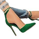 Minetom Mujer Tacones Altos Dedo Puntiagudo Fiesta Zapatos Básicos Cordones Cerrados Ante Sandalias Zapatos De Noche A Verde 37 EU