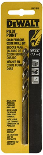 DEWALT DW1918 9/32-Inch Gold Ferrous Oxide Pilot Point Twist Drill Bit