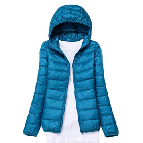 GenericBrands Women's light Packable Hoodie Down Jackets Windproof Slim Solid Long Sleeve Zip Coat