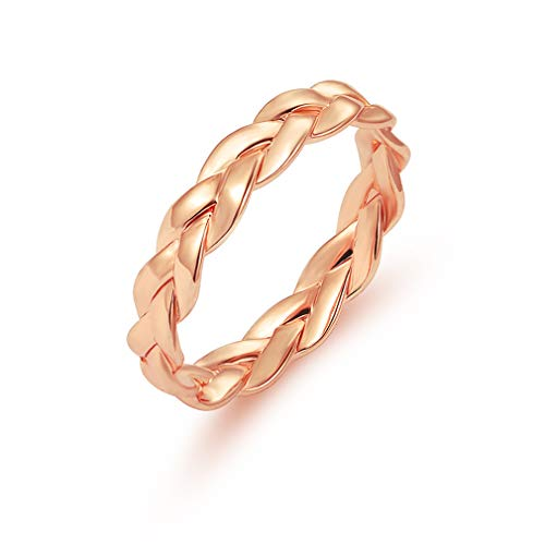 NIKOLay Rope Rings Classic Infinity Celtic Anniversary Eternity Crossover Swirl Wedding Band Couple Promise Rings,Gold,9#