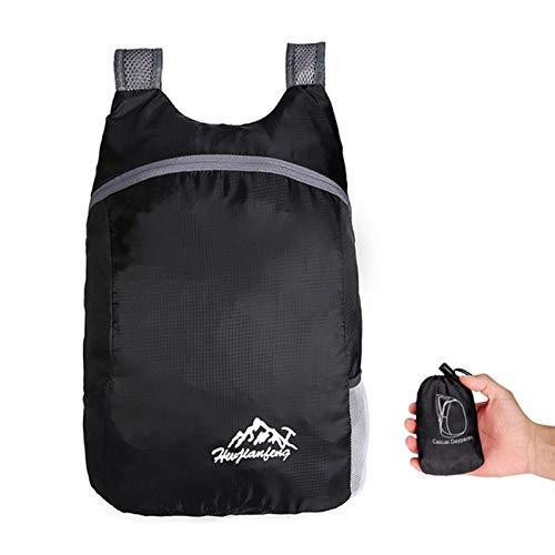 Mochilas 15l Mochila empaquetable Ligera Liviana Plegable Ultraligero Backpack Plegable al Aire Libre Viaje Daypack Bag Sports Daypack para Hombres Mujeres (Color : Black Color)