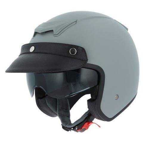 Astone Helmets - Casque jet Sportster 2 mono color- Casque jet néo rétro - Casque moto jet vintage - Casque jet casquette avec en cuir - Coque en polycarbonate - matt grey L