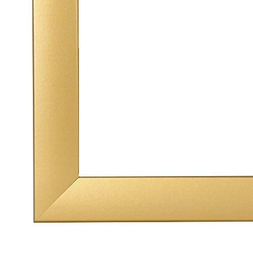 Cadre de Photo Cadre d'image OLIMP 50x70 cm ou 70x50 cm in DORÉ ESSUYÉ avec Anti-reflet verre artificielle et le panneau arrière, 35 mm baguettes d'encadrement MDF et feuille décorative entièrement recouvrante