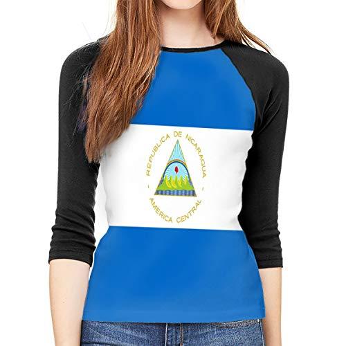 YSPF Women's Nicaragua Flag Casual 3/4 Sleeve Baseball Tshirt Raglan Jersey Tees Black