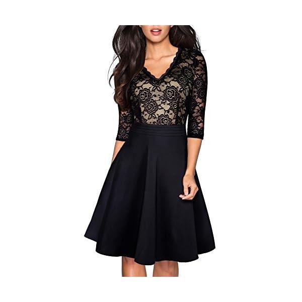 Kaured Elegant Women Black Strapless Classy Lace Dress Evening Dinner Party Retro Robes Summer Swing Dresses