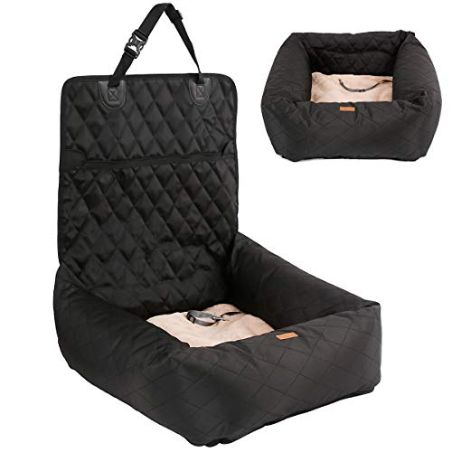 HAPPY HACHI Hundebett Autositzbezug Pet Car Booster Seat 2 in 1 Front Back Protector Pet Lookout Tragbarer Autositzabdeckung Hundetransport Vordersitz mit dickem Zwinger und Sicherheitsgurt