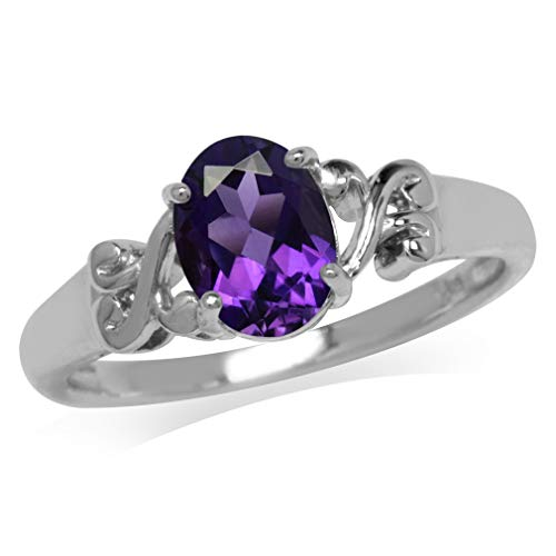 Silvershake 1.13ct. Natural African Amethyst 925 Sterling Silver Victorian Style Solitaire Ring Size 9