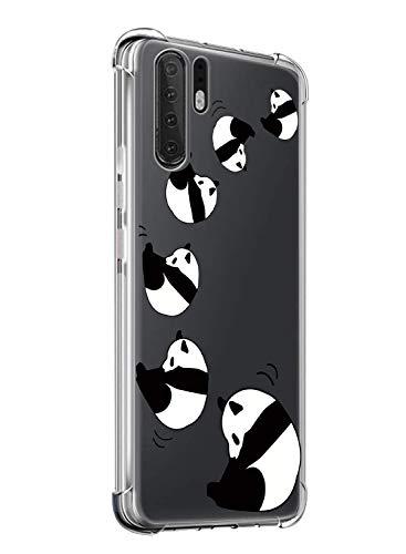 Suhctup Compatible con Huawei Nova 6 5G Funda para Silicona Transparente con Dibujos Panda Diseño Patrón Cárcasa Ultra-Fina Suave TPU Choque Cojín de Esquina Parachoque Caso-Panda 7