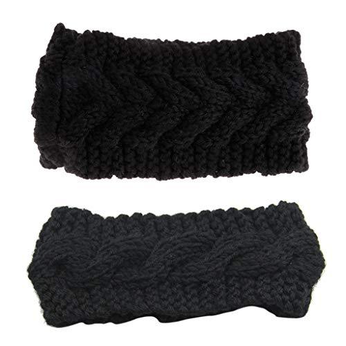 ruiruiNIE 9 Colores Crochet Diadema Tejer Flor Hairband Invierno Mujeres Oreja más cálido Headwrap(Negro)