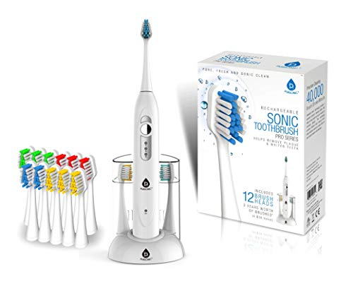Pursonic S430 SmartSeries Electronic Power Rechargeable Sonic Toothbrush with 40,000 Strokes Per Minute, 12 Brush Heads Included (White)