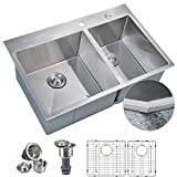 MOWA HTD33DOX Pro Series Tight Radius Handmade 33' 16 Gauge Stainless Steel Top Mount 60/40 Double Bowl Modern Kitchen Sink, 9 Gauge Extra Thick Deck w/Basket Strainers, Sink Grids and Soap Dispenser