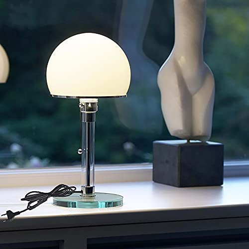 Tischlampe LED E27 Tischleuchte Designer Lampe Glas Lampenschirm für Tischlampe Schlafzimmer, Mattes Material, mit Leuchten Zugschalter Zugschnur Schreibtischleuchten, 1.5m Kabel, Lieferzeit 1-3Tage