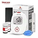 Diabetes Test Kit, Blood Sugar Tester [Upgrade Version] with Voice Reminder and Light Warning Blood Glucose Monitor with Test Strips x 50 and Lancet x 50, Sinocare Safe AQ Voice Glucometer -in mmol/L