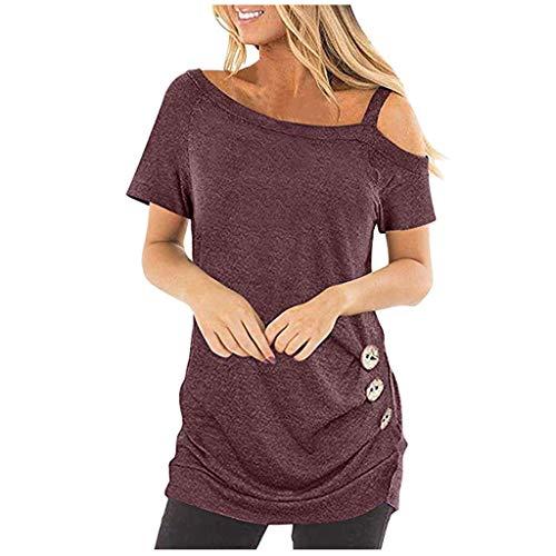 EUZeo Lässige Elegante kurzärmlige T-Shirt Oberteile für Damen mit Knöpfen Frauen kalten Schultern Tees Shirts Tuniken Hemden Blusen Oberteil Streetwear Tops Pullover