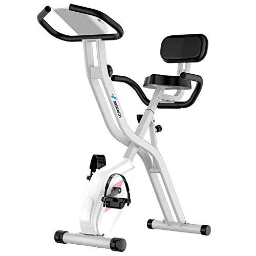 ZXYY Bicicleta estática magnética para bicicleta de interior con resistencia a 8 niveles máquina para ejercicios en casa perfecta para capacidad cardiovascular 220 libras M, blanco
