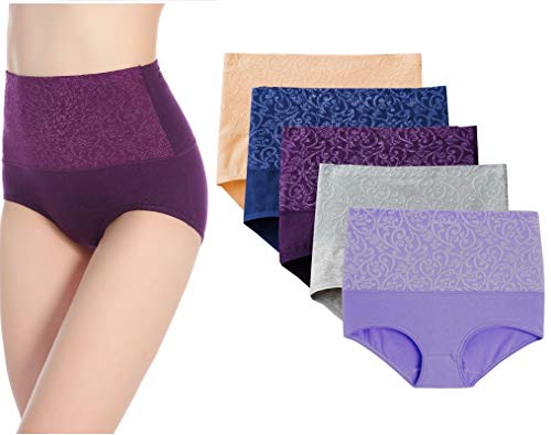5-Pack High Waist Tummy Control Panties for Women, Cotton Underwear No Muffin Top Shapewear Brief Panties (5-Pack, Large)