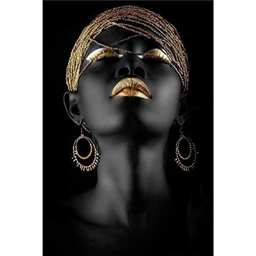 Pintura en lienzo Cuadros de arte de pared Hermosa dama negra dorada Carteles e impresiones de moda dorada Decoración de la habitación 70x100cm / 27.6'x39.4' Sin marco