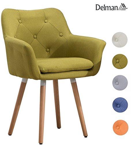 Delman Besucherstuhl Esszimmerstuhl Wohnzimmerstuhl Armsessel Sessel Stoff-Bezug Küchenstuhl 02-0015GN (Grün)
