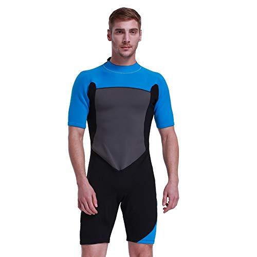 JOMSK Piel de Buceo para Hombres Protección Solar Caliente de los Hombres Adultos Siameses Traje de Manga Corta Apto for el Buceo (Color : Photo Color, Size : XL)