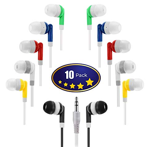 Wholesale Kids Bulk Earbuds Headphones (10-Pack) Earphones, Multi Color,for Schools, Libraries, Hospitals by Deal Maniac
