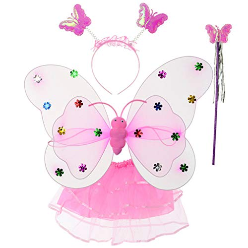 JHD Juego de alas de Mariposa de Doble Capa LED para niña de 4 Piezas, Falda tutú de Malla escalonada Irregular, Diadema con Varita de Hadas, Disfraz de Fiesta de Princesa 2-8T