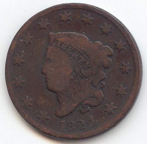 1824 Coronet Head Large Cent Choice Good