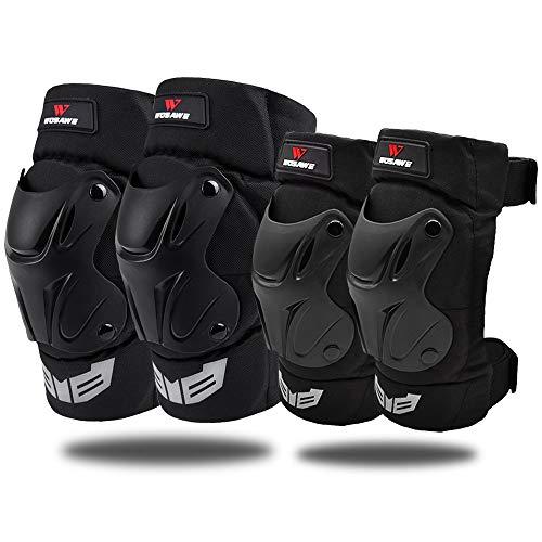 WOSAWE Protektoren Sets Knieschützer Ellbogenschützer Motorrad Handgelenkschutz Sport Roller Ski Protector Kit für Skateboard Fahrrad Roller (Knieschützer & Ellbogenschützer)