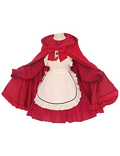 Anime Toilet-bound Hanako-kun Nene Cosplay Disfraz Halloween Navidad fiesta traje rojo vestido de criada para mujer-rojo_M
